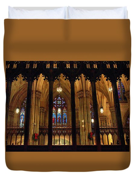 Duvet Cover featuring the photograph Cathedral Arches by Jessica Jenney