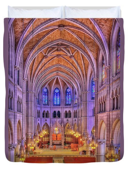 Duvet Cover featuring the photograph Cathedral Basilica Of The Sacred Heart Newark Nj II by Susan Candelario