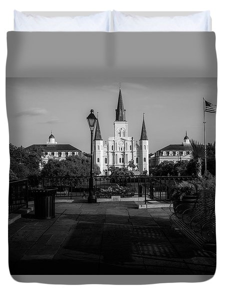 Cathedral Light In Black And White Duvet Cover