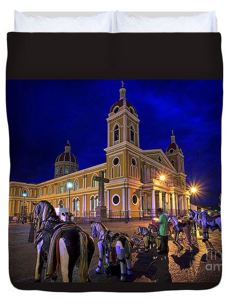 Cathedral Of Granada Shines Brightly Duvet Cover