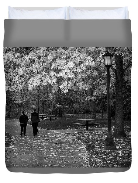 Cathedral Park In Fall Bw Duvet Cover
