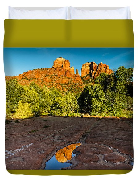 Cathedral Rock And Reflection Duvet Cover