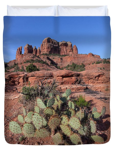 Cathedral Rock Cactus Grove Duvet Cover