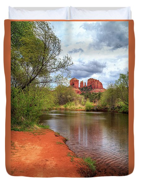 Duvet Cover featuring the photograph Cathedral Rock From Oak Creek by James Eddy