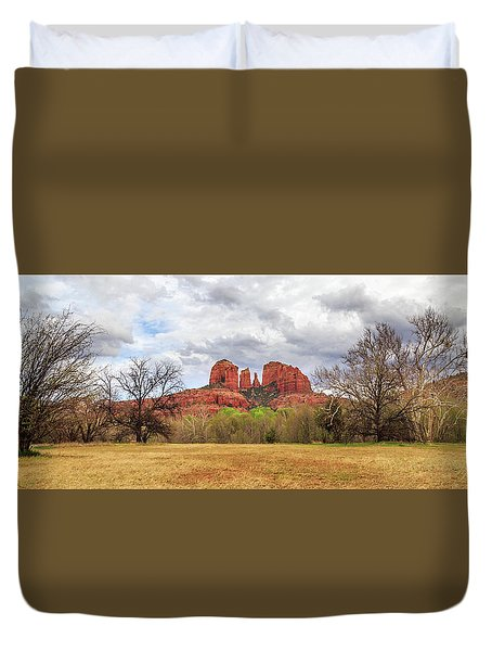 Duvet Cover featuring the photograph Cathedral Rock Panorama by James Eddy