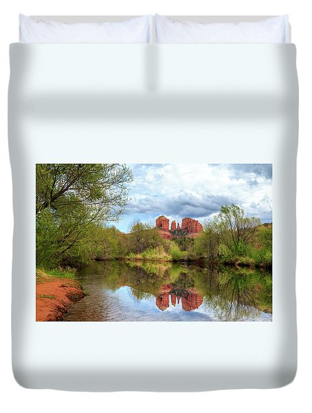 Duvet Cover featuring the photograph Cathedral Rock Reflection by James Eddy