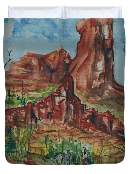 Hiking Cathedral Rock,  Sedona, Az. Duvet Cover