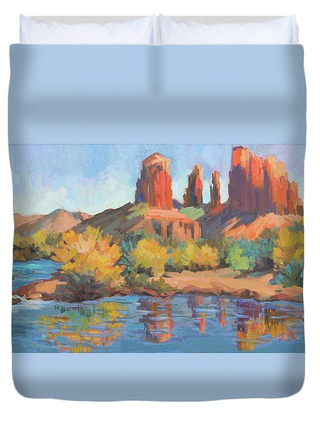 Moonrise Cathedral Rock Sedona Duvet Cover