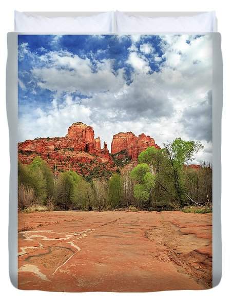 Duvet Cover featuring the photograph Cathedral Rock Sedona by James Eddy