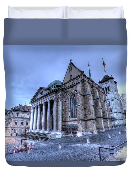 Cathedral Saint-pierre, Peter, In The Old City, Geneva, Switzerland, Hdr Duvet Cover