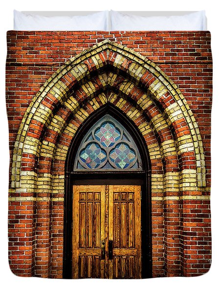 Duvet Cover featuring the photograph Cathedral Tower Door by Onyonet  Photo Studios