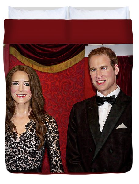 Duvet Cover featuring the photograph Catherine And Prince William by Miroslava Jurcik
