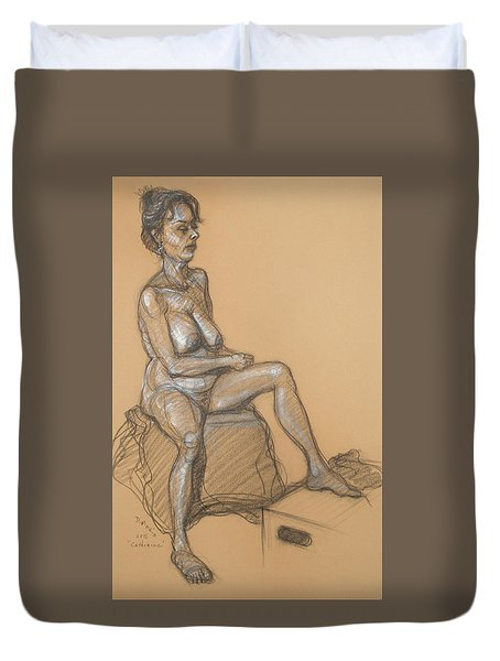 Duvet Cover featuring the drawing Catherine Seated by Donelli  DiMaria
