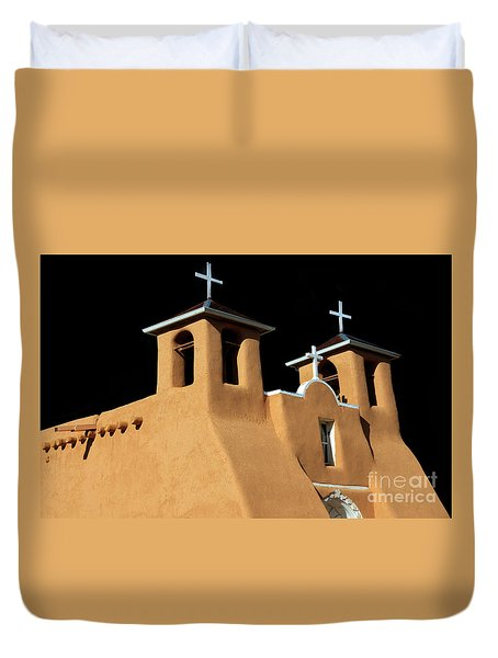 Duvet Cover featuring the photograph St Francis De Assi Church  New Mexico by Bob Christopher