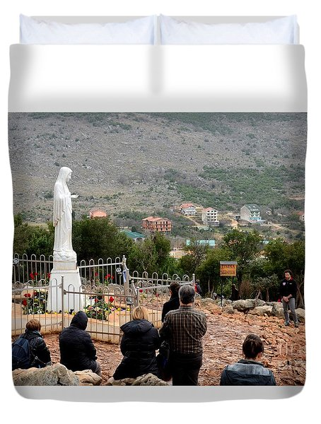 Catholic Pilgrim Worshipers Pray To Virgin Mary Medjugorje Bosnia Herzegovina Duvet Cover