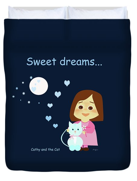 Cathy And The Cat Sweet Dreams Duvet Cover