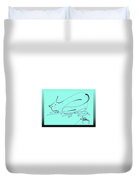 Duvet Cover featuring the mixed media Catnap In Blue by Larry Talley