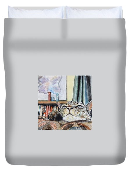 Duvet Cover featuring the painting Catnip by Stan Tenney