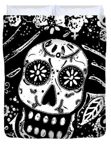Duvet Cover featuring the painting Catrina Dia De Los Muertos by Pristine Cartera Turkus
