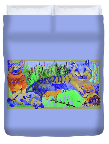 Cats And A Fiddle Duvet Cover