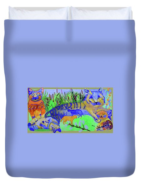 Cats And A Fiddle Duvet Cover by Sandy McIntire