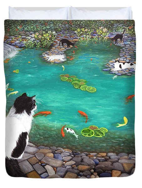 Duvet Cover featuring the painting Cats And Koi by Karen Zuk Rosenblatt