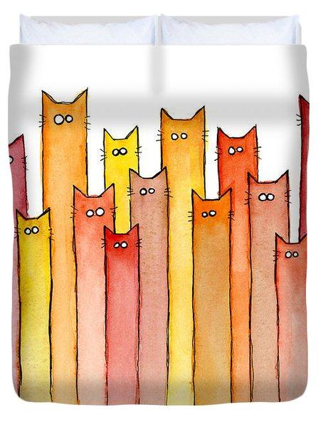 Cats Autumn Colors Duvet Cover