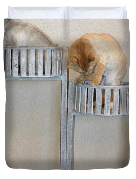 Cats In Baskets Duvet Cover