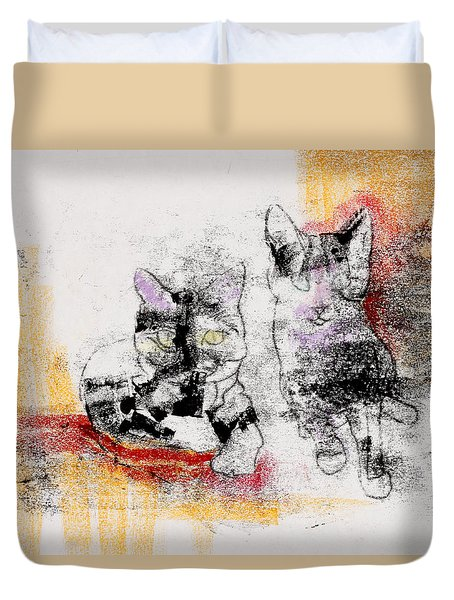 Cats In Color Duvet Cover