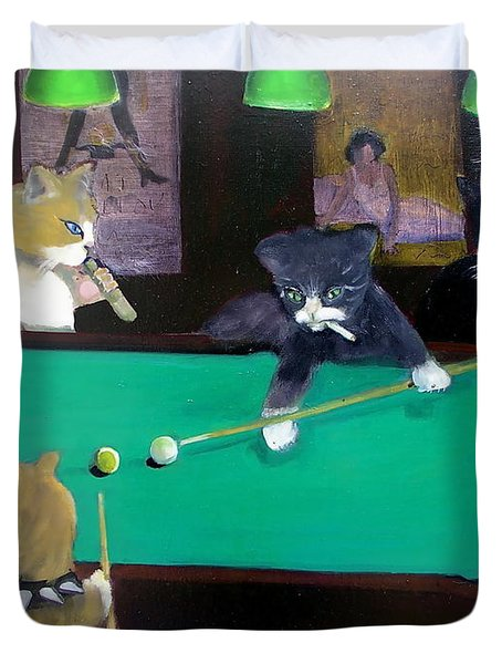 Cats Playing Pool Duvet Cover