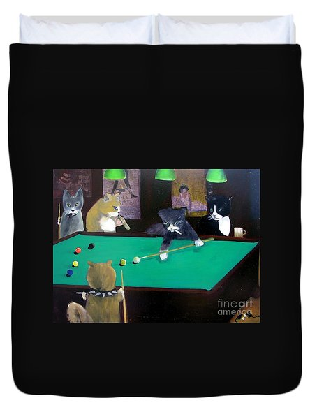 Cats Playing Pool Duvet Cover by Gail Eisenfeld