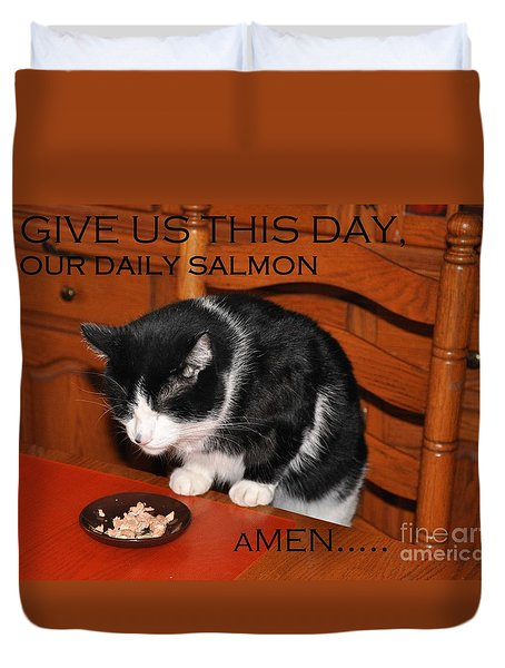 Cat's Prayer Revisited By Teddy The Ninja Cat Duvet Cover by Reb Frost