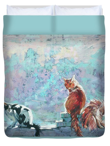 Cats. Washed By Rain Duvet Cover