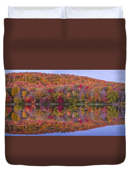 Duvet Cover featuring the photograph Catskill Panorama 2 by Mark Papke
