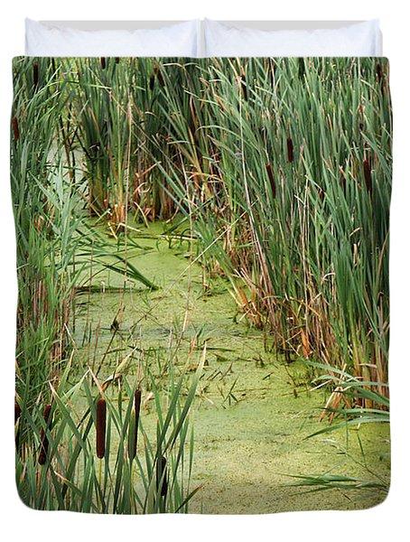 Cattails Along A Stream Duvet Cover
