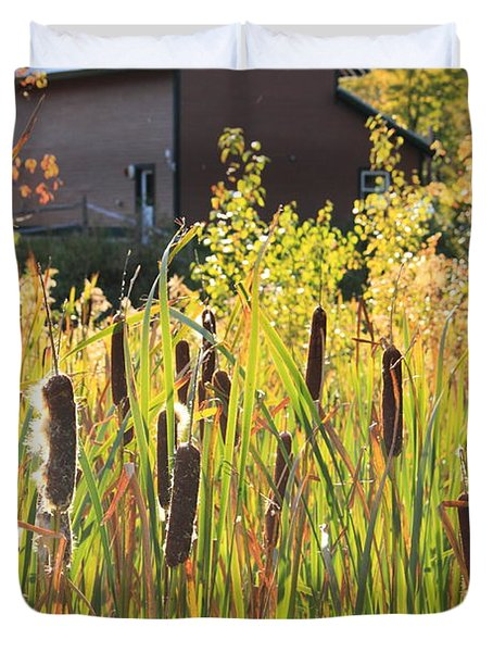 Cattails And Barn Duvet Cover