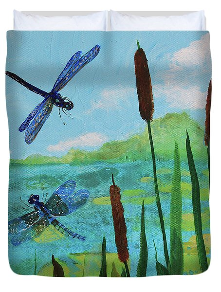 Cattails And Dragonflies Duvet Cover