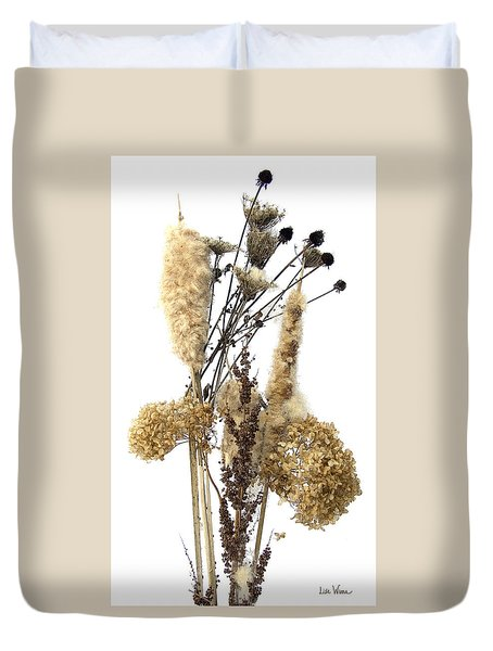 Cattails And November Flowers II Duvet Cover by Lise Winne