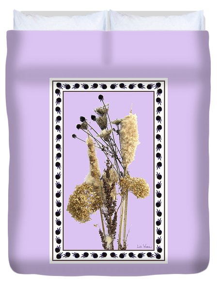 Cattails And November Flowers Duvet Cover by Lise Winne