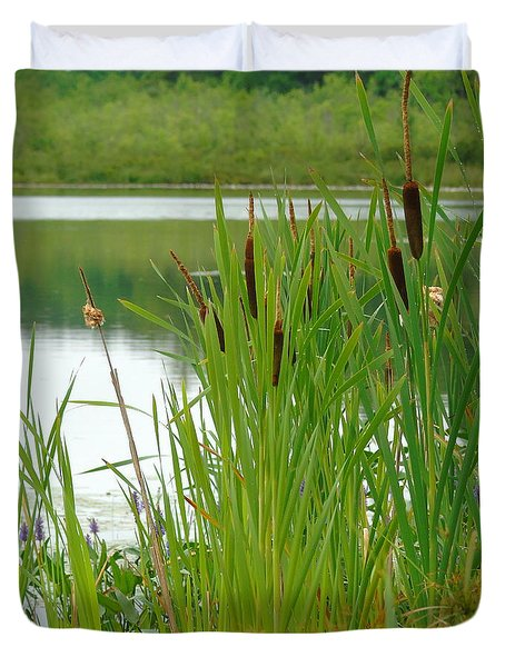 Cattails And Still Water Duvet Cover