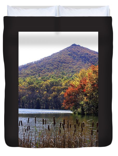 Duvet Cover featuring the photograph Cattails By Lake With Sharp Top In Background by Emanuel Tanjala