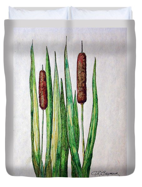 Duvet Cover featuring the drawing Cattails II by J R Seymour