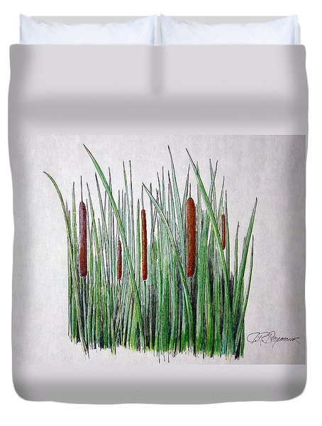 Duvet Cover featuring the drawing Cattails IIi by J R Seymour