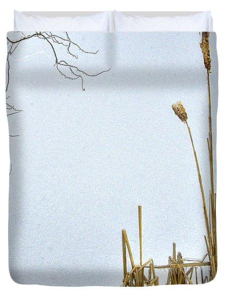 Cattails In Winter Duvet Cover