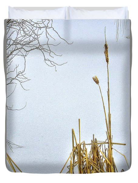 Cattails In Winter Duvet Cover