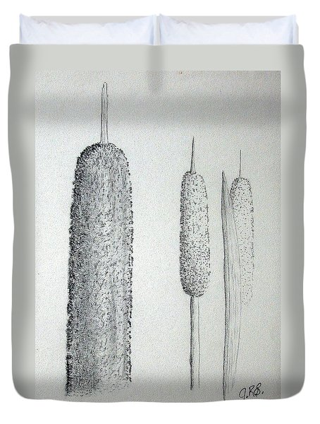 Duvet Cover featuring the drawing Cattails Iv by J R Seymour