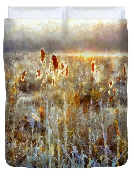 Duvet Cover featuring the photograph Cattails - Misty Morning - Marsh - Frost by Janine Riley