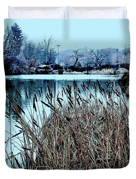 Cattails On The Water Duvet Cover by Sandy Moulder