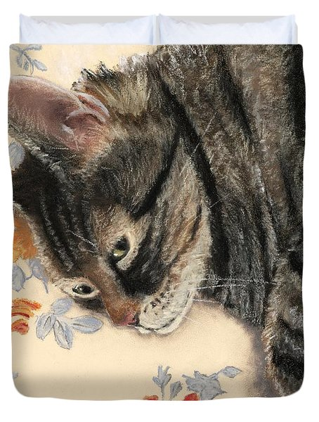Duvet Cover featuring the painting Cattitude by Anastasiya Malakhova