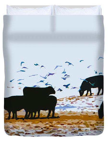 Cattle And Birds Duvet Cover